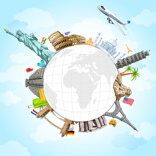 around the world creative vector material 03   Vector Background 500x500