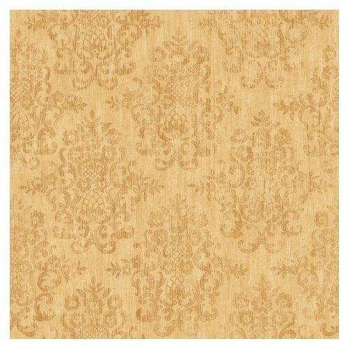 allen roth Yellow Earth Tone Damask Wallpaper LW1340159 500x500