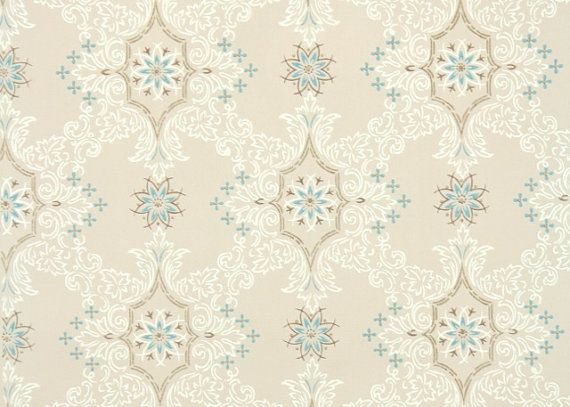 wallpaper blue and white geometirc with metallic gold accents on beige 570x407
