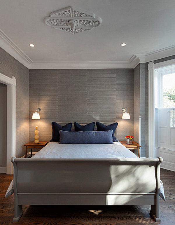 Design Calming Grey Wallpaper in Modern Bedroom with Black Pillows 600x771