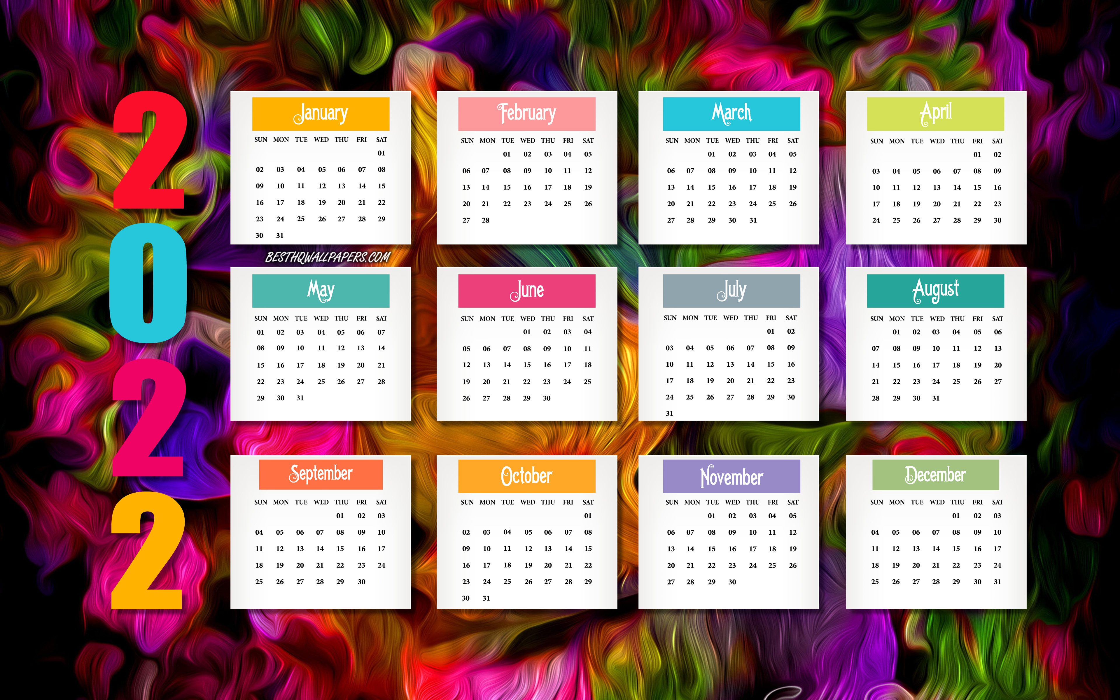 Download wallpapers 2022 Calendar colorful background 2022 all 3840x2400