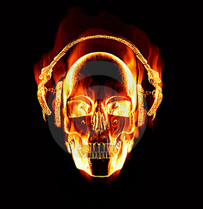 wallpapers skulls with flames