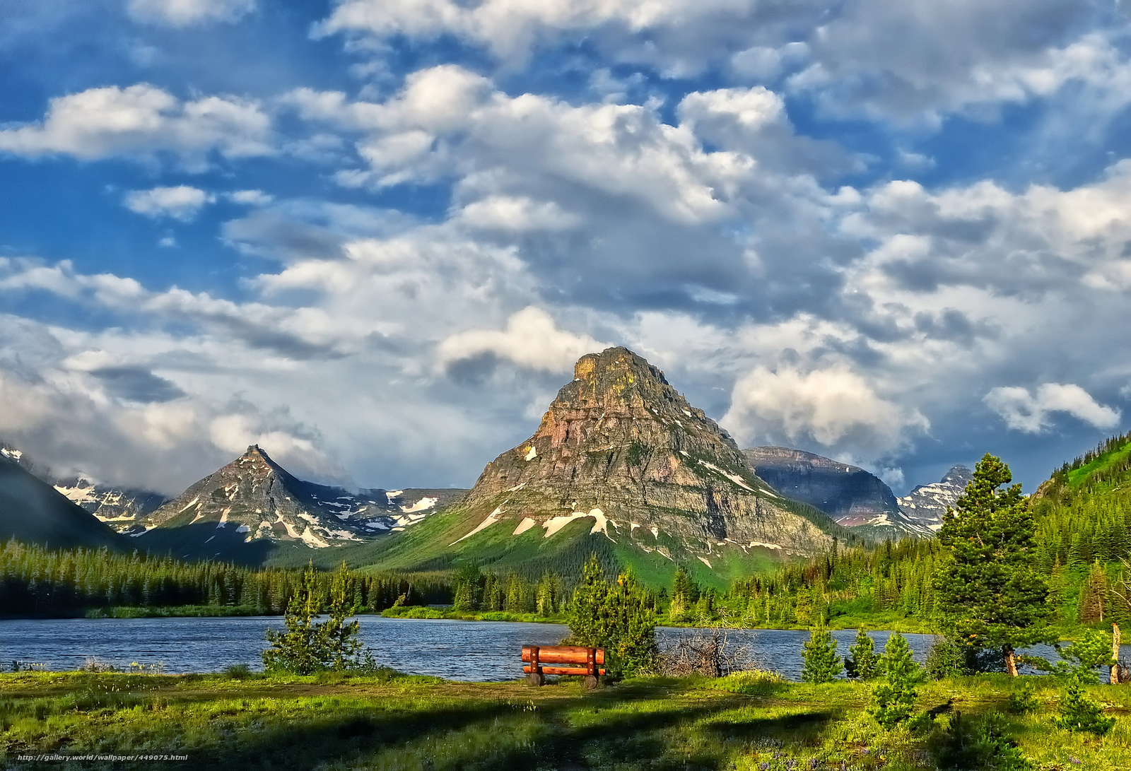 Download wallpaper glacier national park lake Mountains clouds 1600x1091