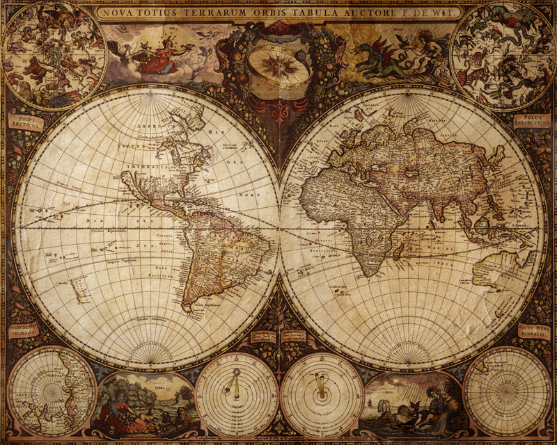 Old map Wall Mural Eazywallz 800x640