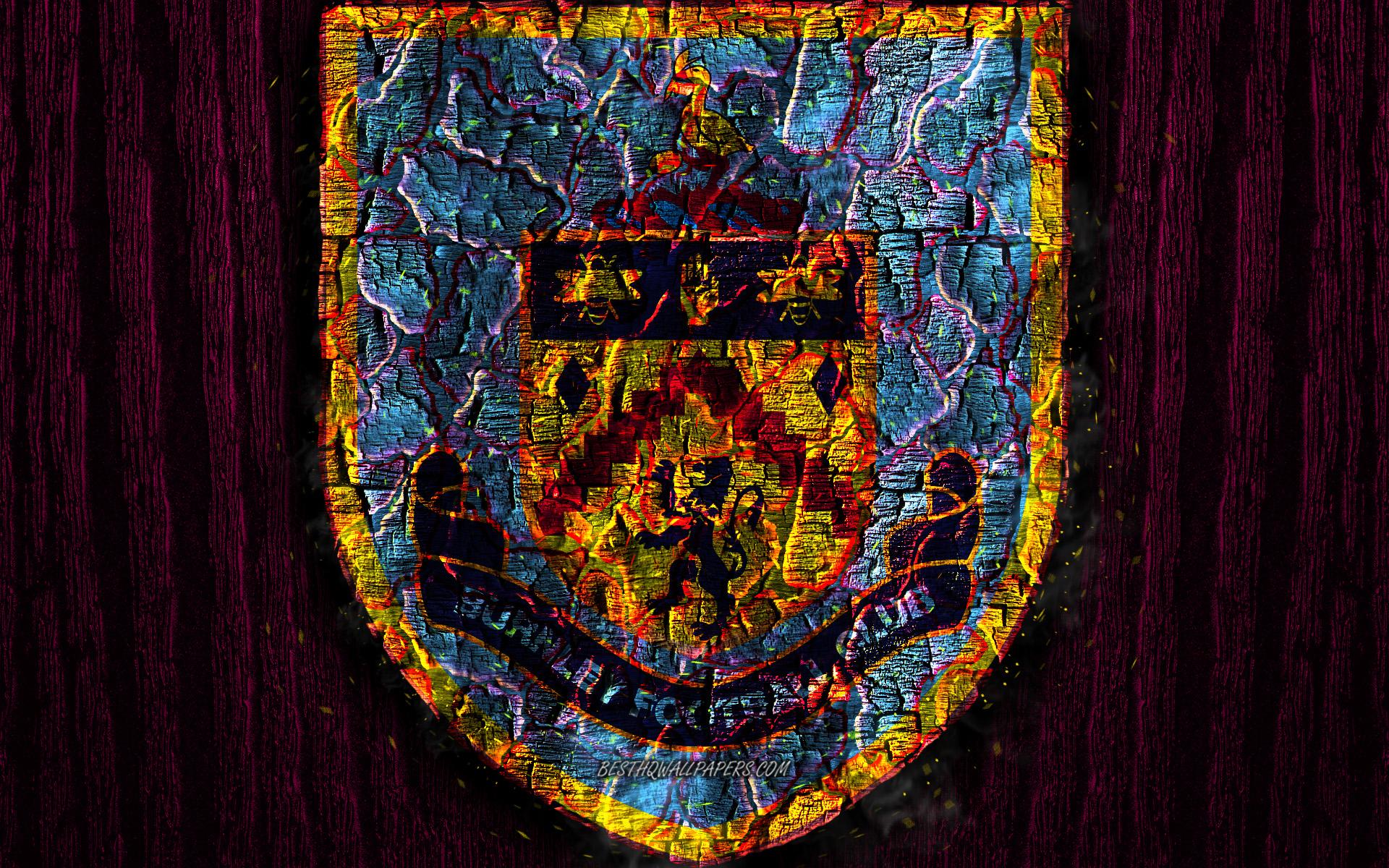 Download wallpapers Burnley FC scorched logo Premier League 1920x1200