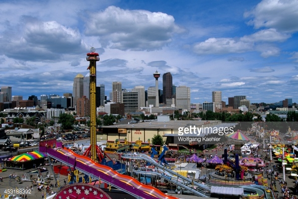 Alberta Calgary Calgary Stampede Park Downtown In Background 594x397