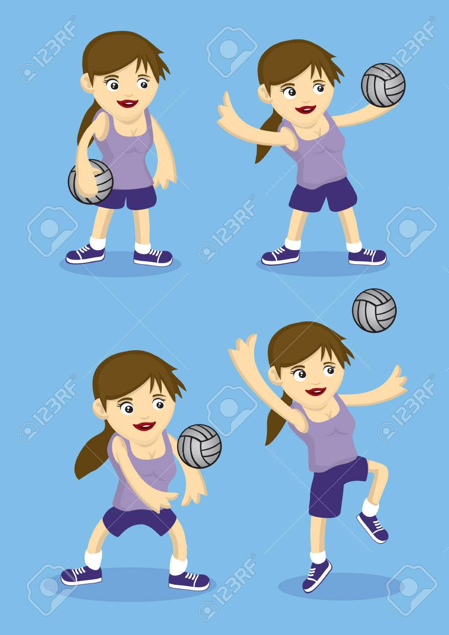 Set Of Four Vector Cartoon Girl Playing Volley Ball Illustration 919x1300