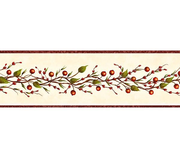 Burgundy Beige Berry Garland Wallpaper Wall Border 600x525