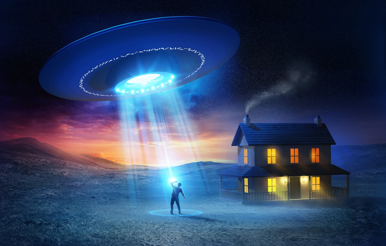 Wallpaper house people UFO UFO flying saucer abduction images 1332x850
