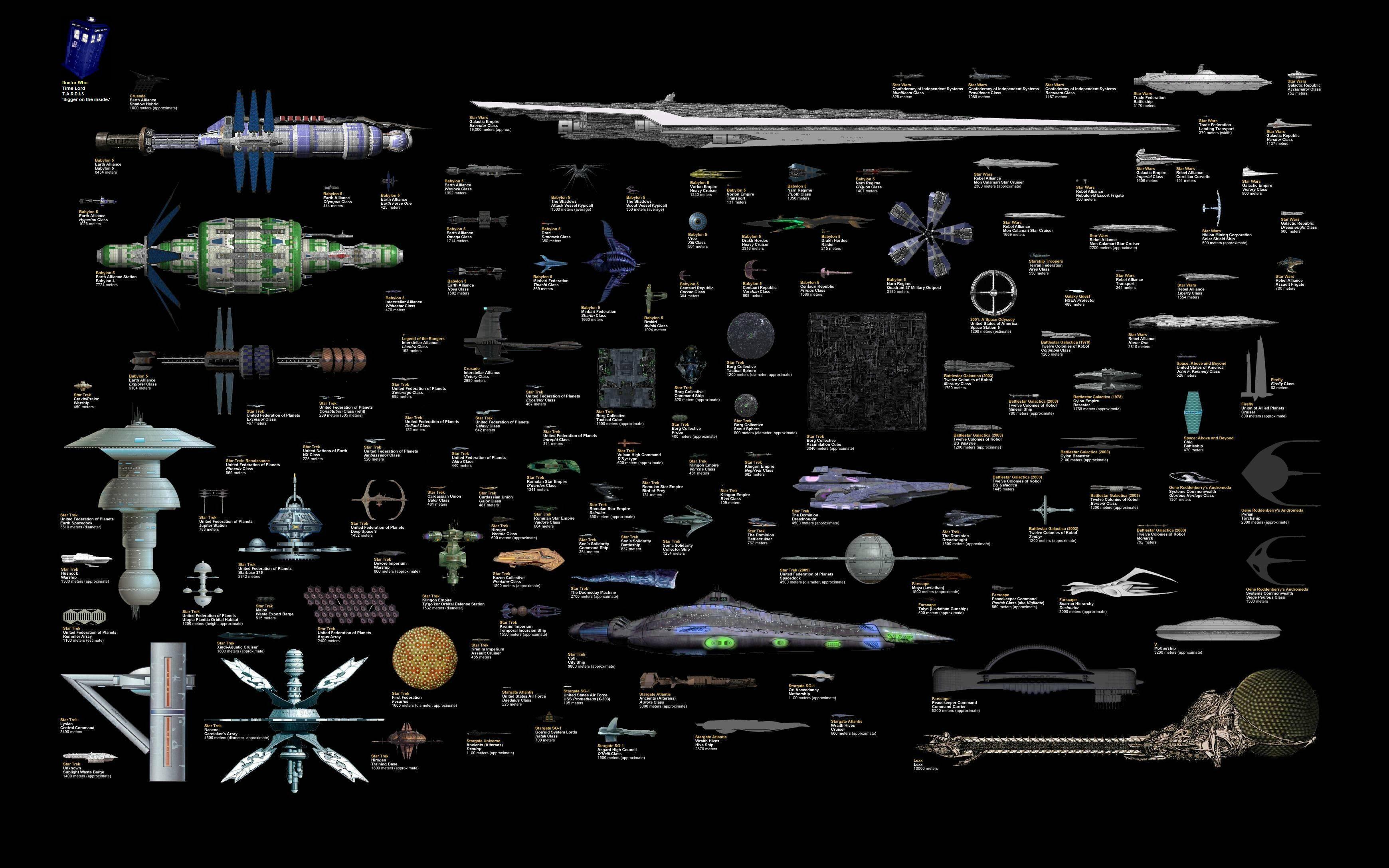 star wars star trek stargate firefly battlestar andromeda spaceships 3480x2175