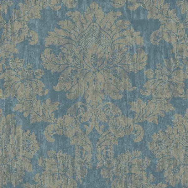 Sample Luray Damask Wallpaper in Blue by Ronald Redding for York Wallc 600x600