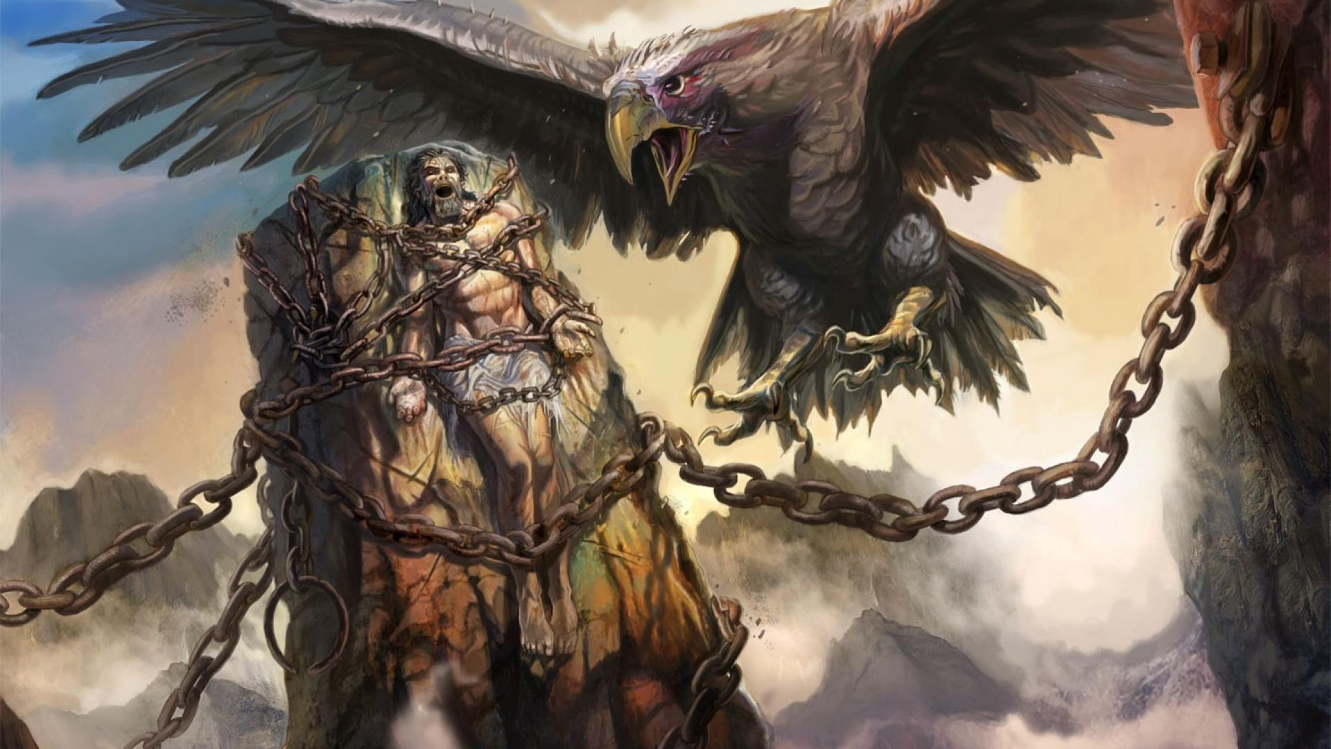 Rocks eagles fantasy art prometheus chains greek mythology wallpaper 1920x1080