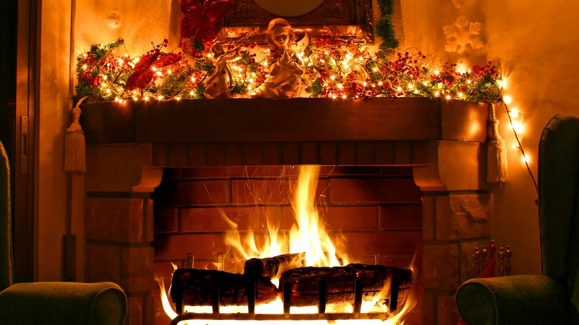 Fireplace   Christmas decoration Live Wallpapers 1920x1080