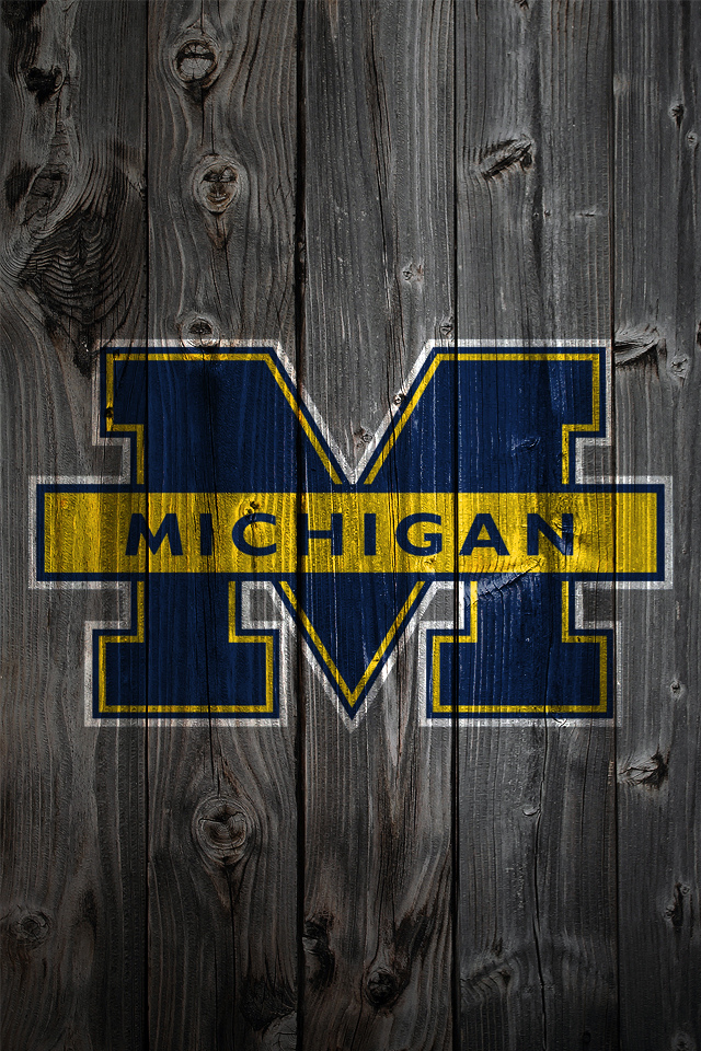 Michigan Wolverine Logo on Wood Background   iPhone 4 wallpaper 640x960