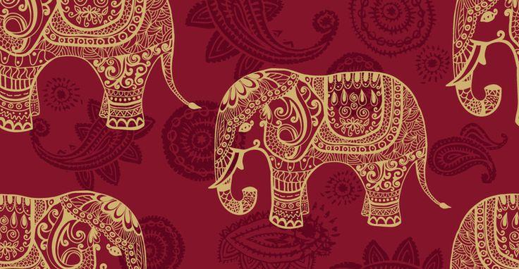 Stuff Pinterest Indian Elephant Pattern Wallpaper and Indian 736x382