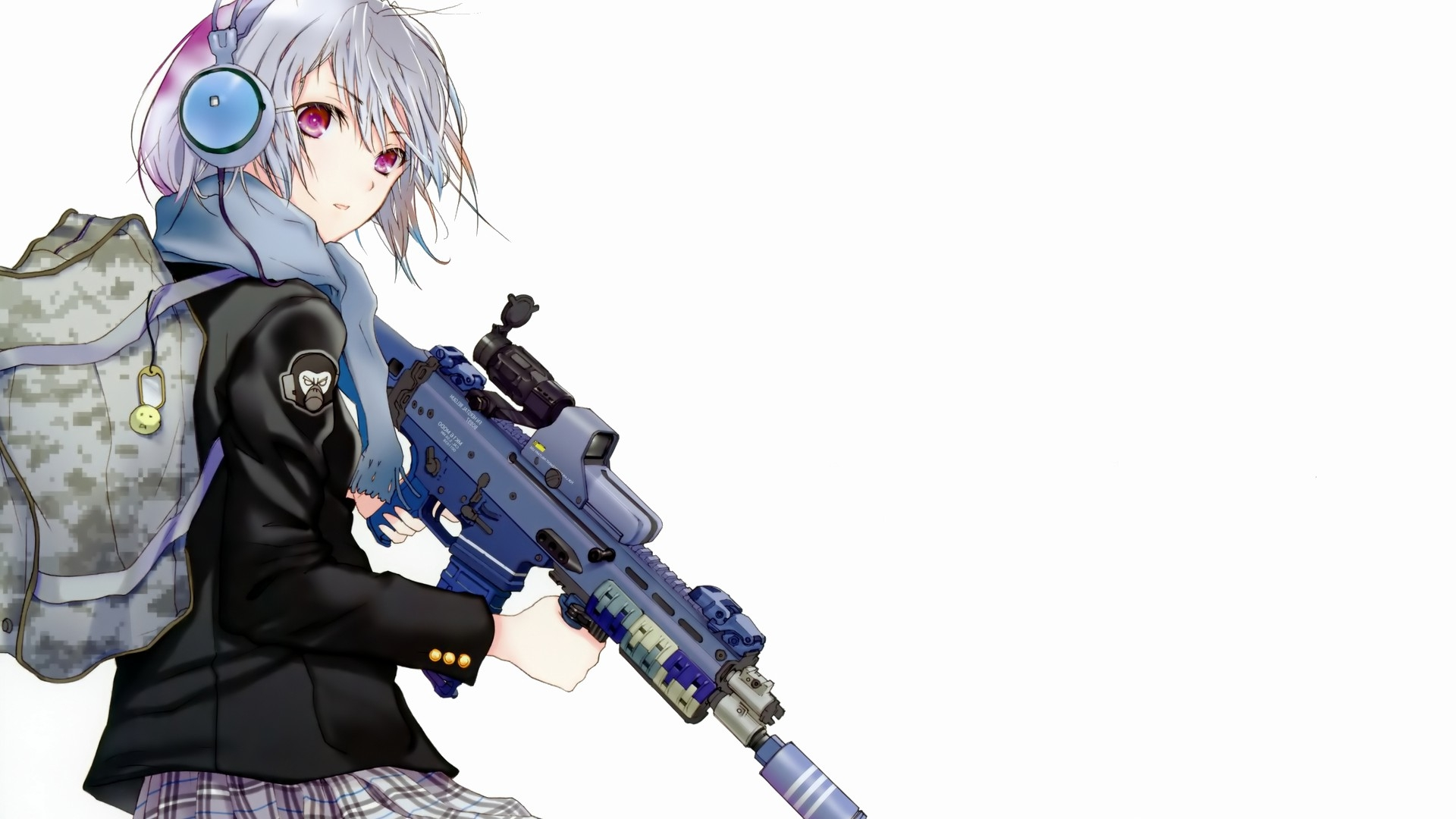 Anime Girl Attitude Backpack Weapons Full HD 1080p HD Background 1920x1080