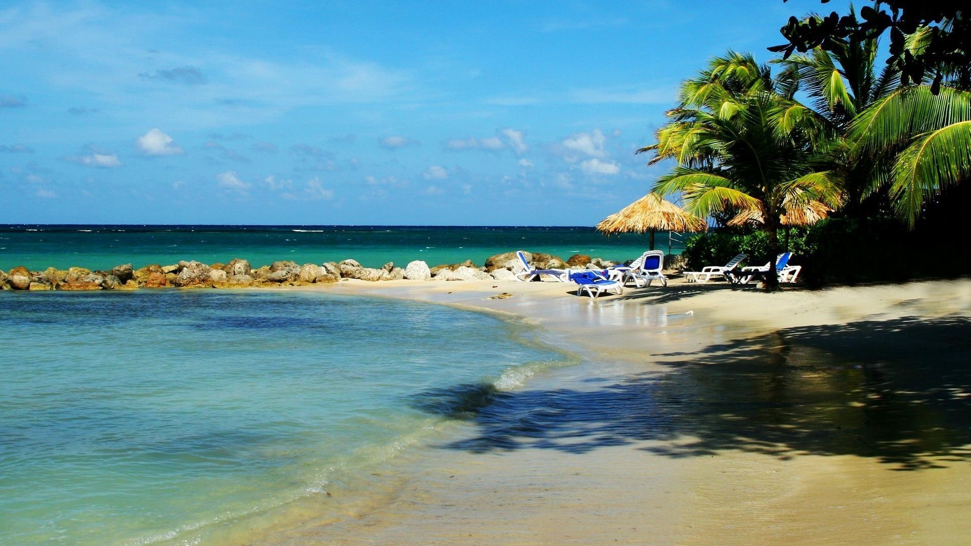 Landscapes beach rocks jamaica chairs palm trees wallpaper 22432 1920x1080