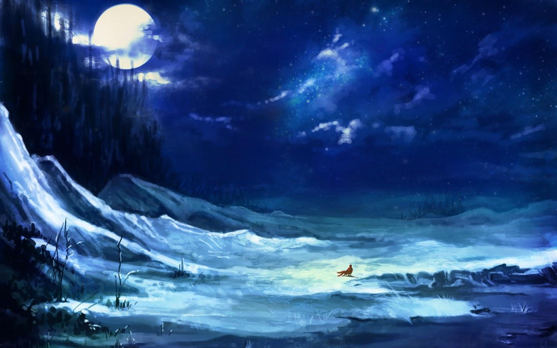 landscape snow night full moon scenery girl animation hd wallpaper 1440x900