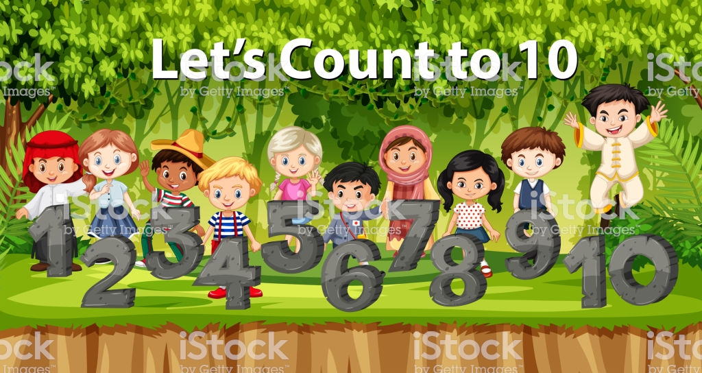 Multicultural Children And Number In Jungle Background Stock 1024x544
