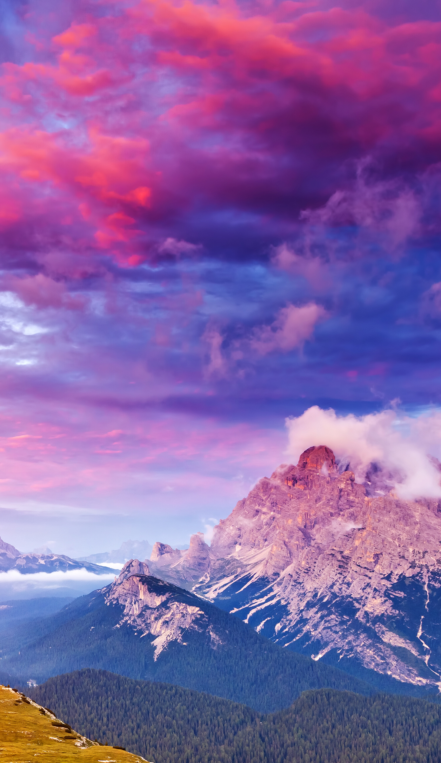 Mountain top view with pink clouds nature Best nature 1500x2592