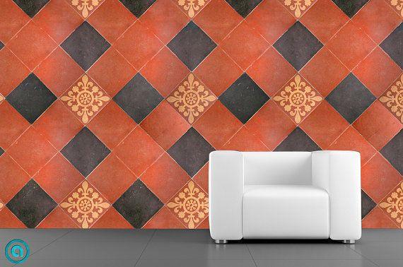 Removable Wallpaper  Tuscan Tile  Peel Stick Self Adhesive Fabric T 570x378