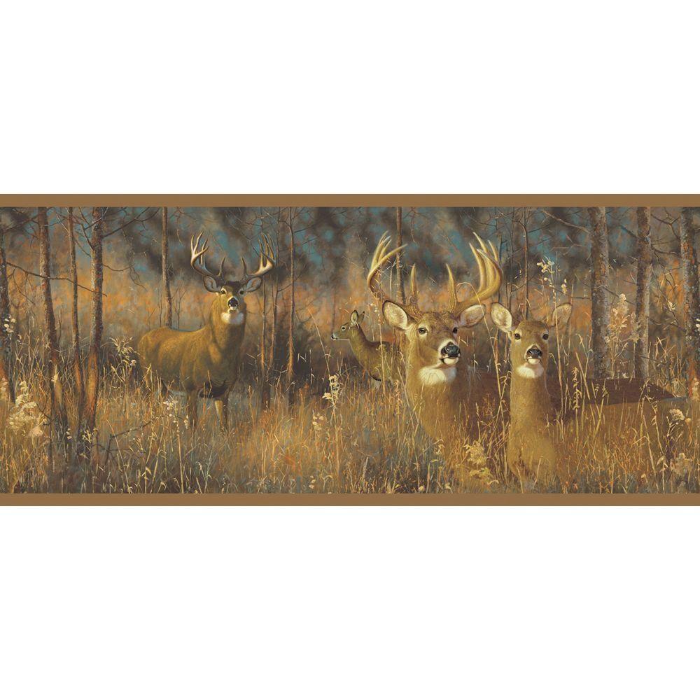 York Wallcoverings Lake Forest Lodge White Tail Deer Wallpaper 1000x1000