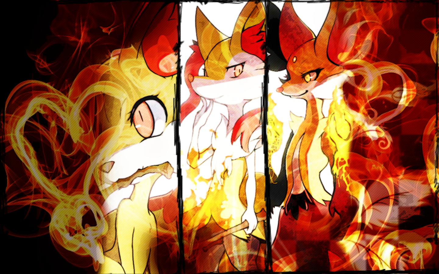 Fennekin Braixen Delphox Wallpaper Pokemon XY by 1440x900
