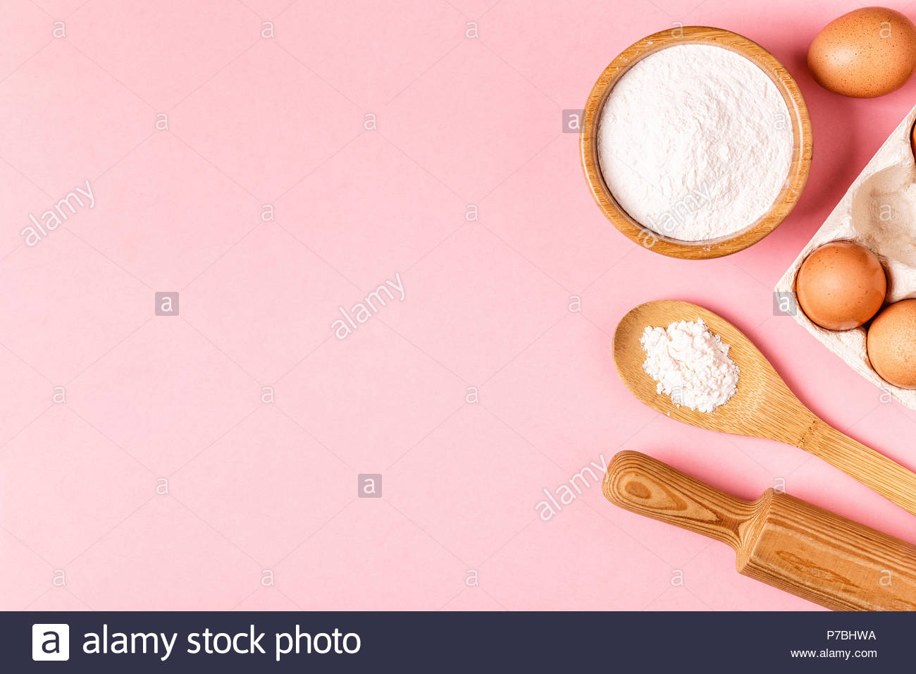 Ingredients and utensils for baking on a pastel background top 1300x956