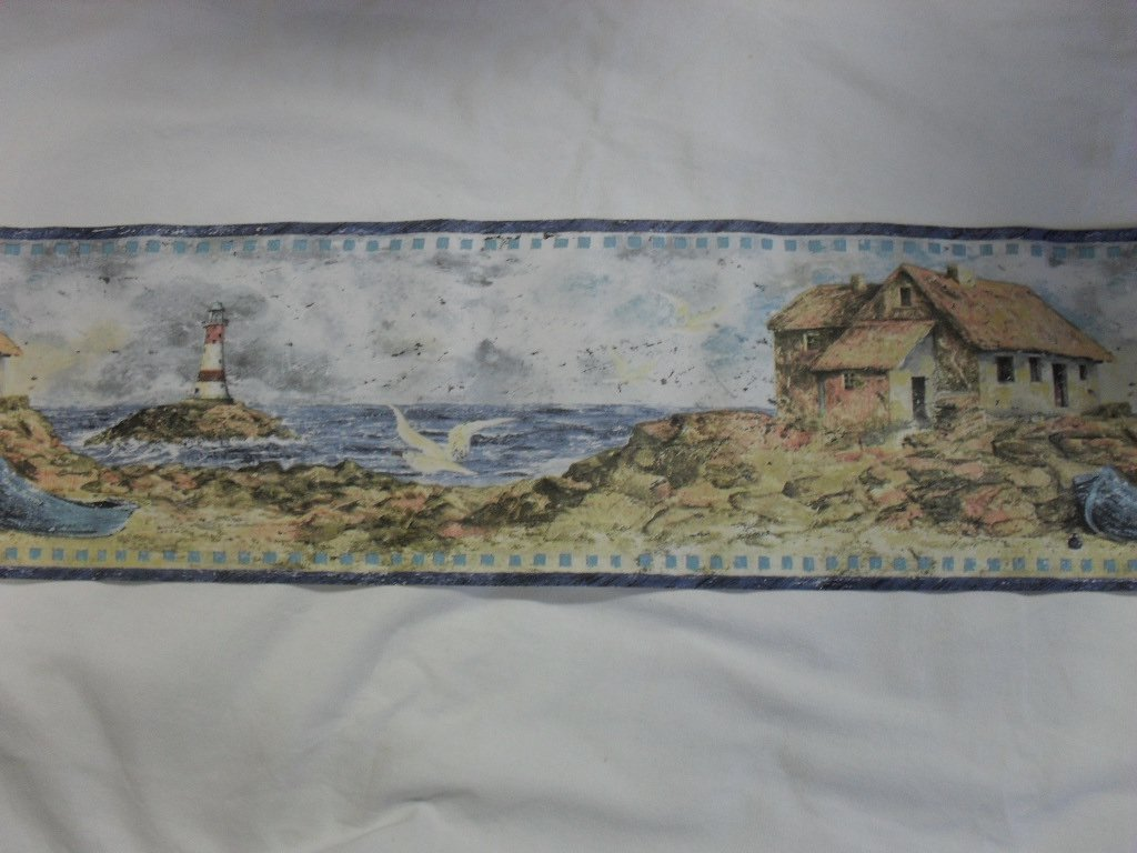Seashore Lighthouse Beach Design Wallpaper Border 1024x768