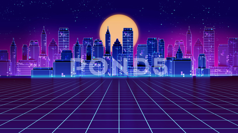 4k loop Retro futuristic skyscraper city 1980s style footage 5760x3240