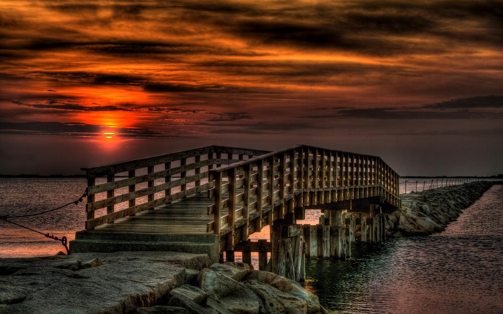 Sunset Bridge FullHD Nature Background Wallpaper for Laptop Widescreen 1600x1000