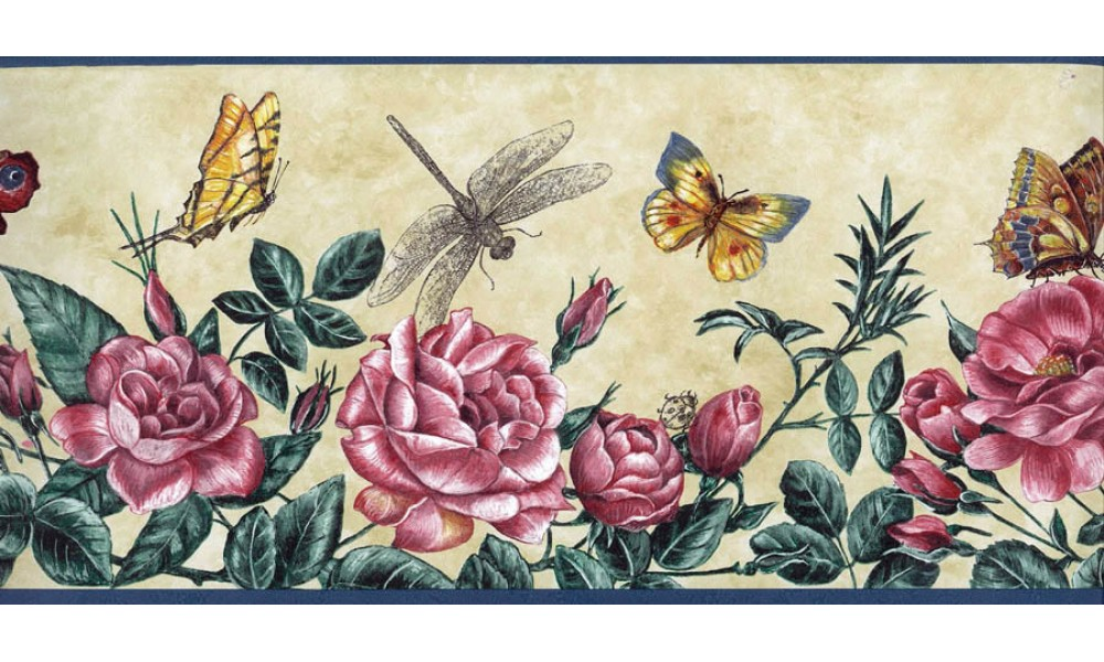 Home Dragonfly Red Roses Wallpaper Border 1000x600