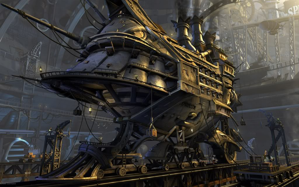 Download Steampunk Airship Wallpaper 1024x640 Full HD Wallpapers 1024x640
