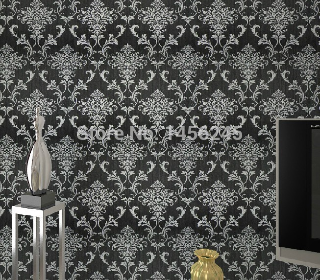 Aliexpresscom Buy PVC glitter blacksilver damask wallpaper 653x572