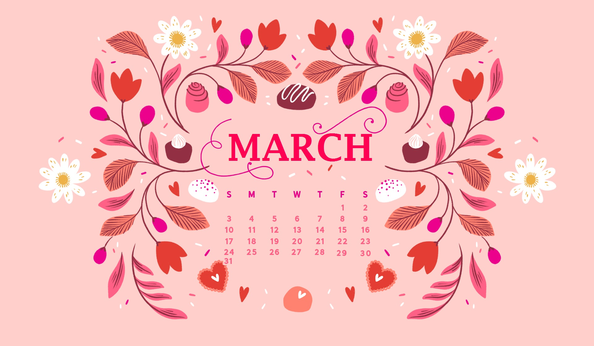 March 2019 Desktop Background Screensaver Calendar 2019 1920x1121
