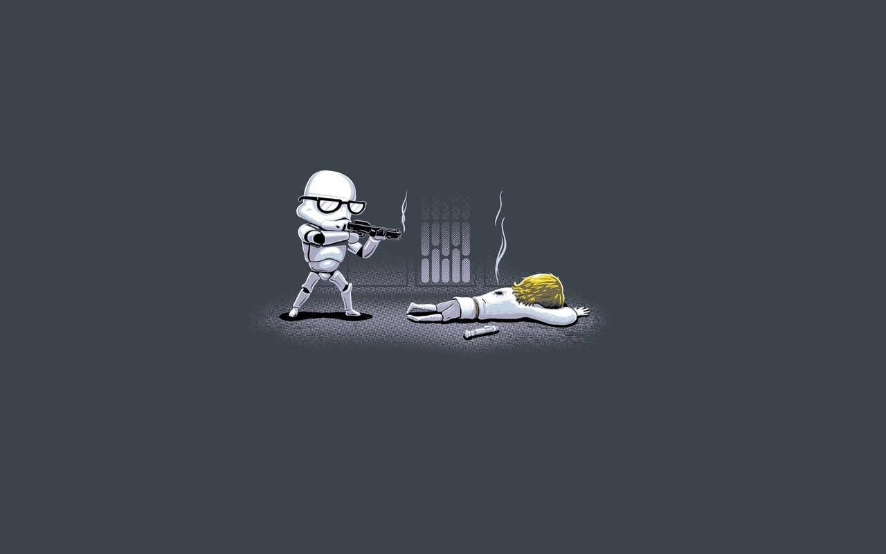 Hipster Stormtrooper shooting Luke wallpaper 14689 1280x800