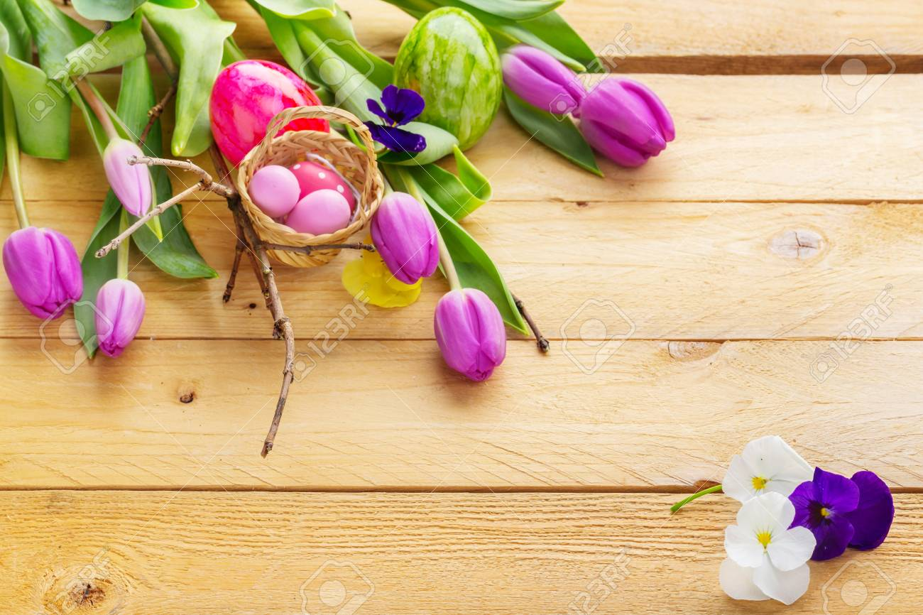 Easter Wallpaper Spring Flowers And Easter Eggs On Wood Stock 1300x866