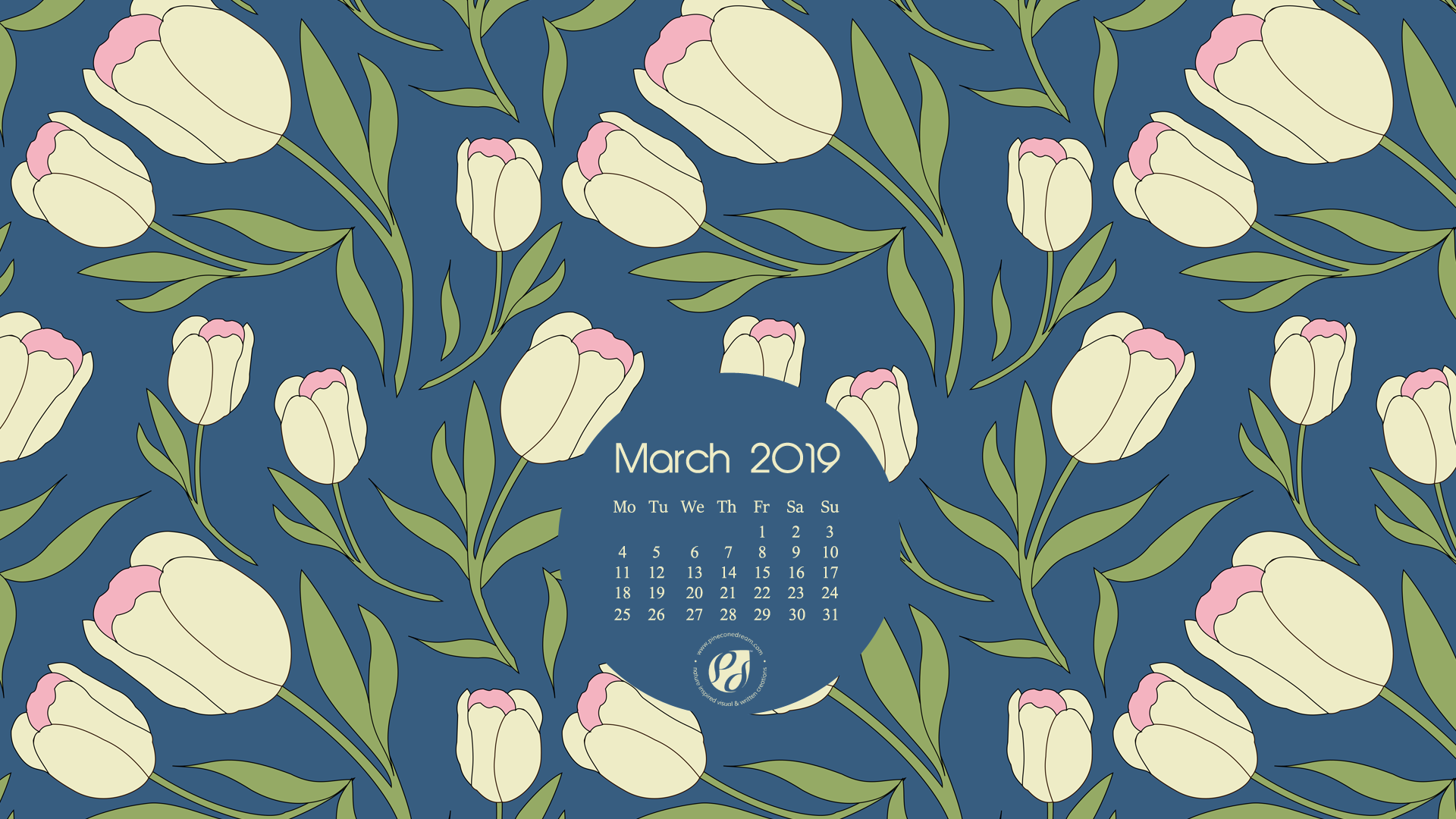 March 2019 calendar wallpapers printable planner 1920x1080