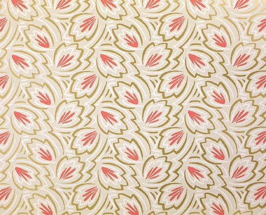 Wallpaper A small scale stylised leaf pattern printed in dark coral 534x431