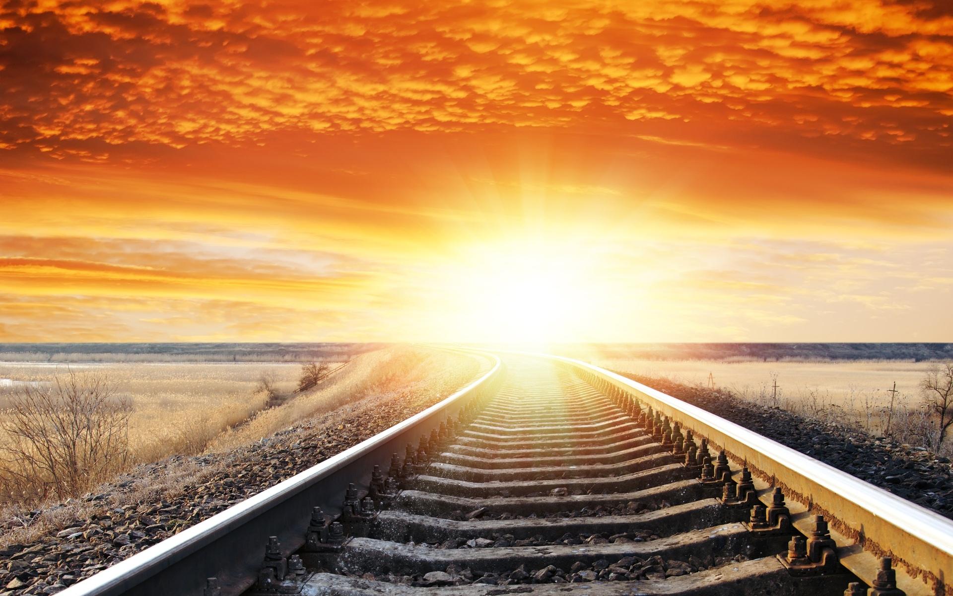 landscape sunset sunrise sky railroad tracks wallpaper background 1920x1200