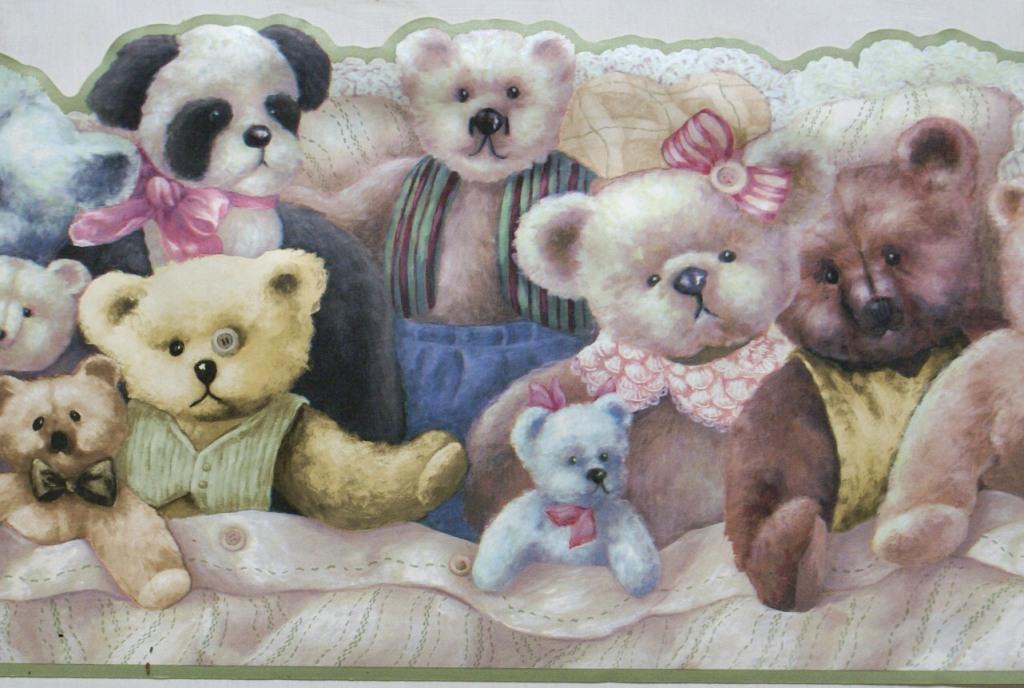 wallpaper borders for nursery Teddy Bear Wallpaper Border 1024x688