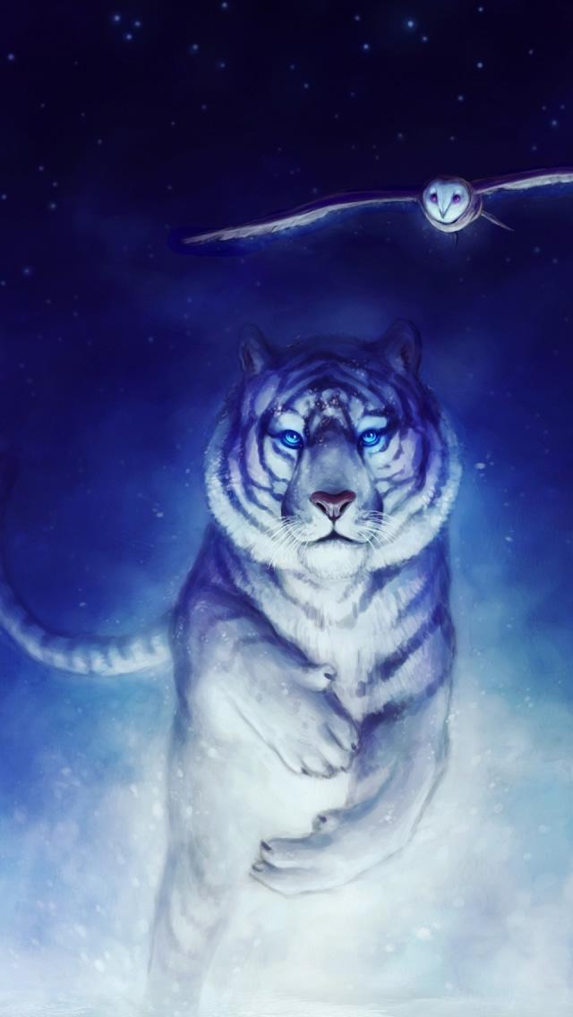 Free Download White Owl Wallpaper Iphone White Tiger Owl Art