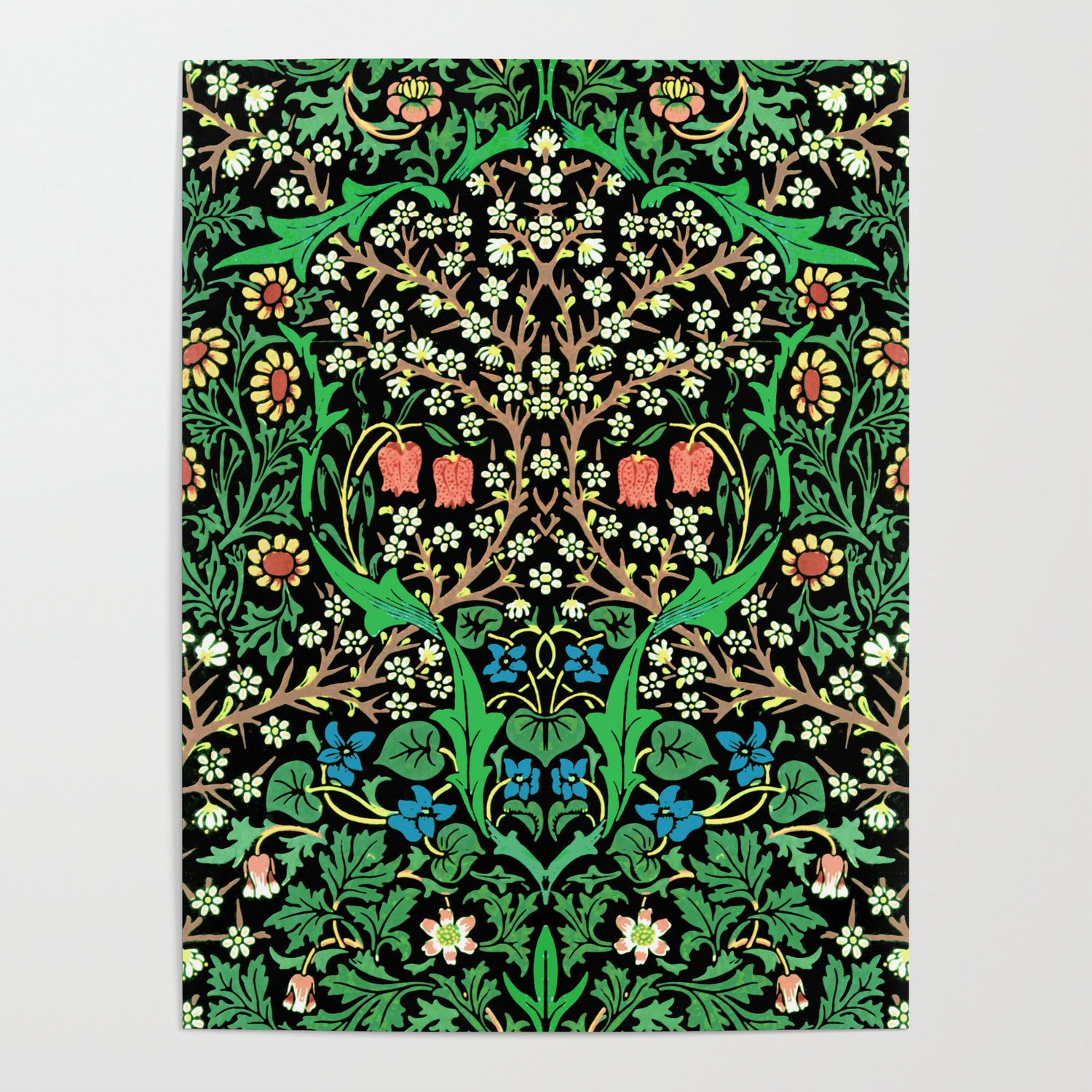 William Morris Jacobean Floral Black Background Poster by 1500x1500
