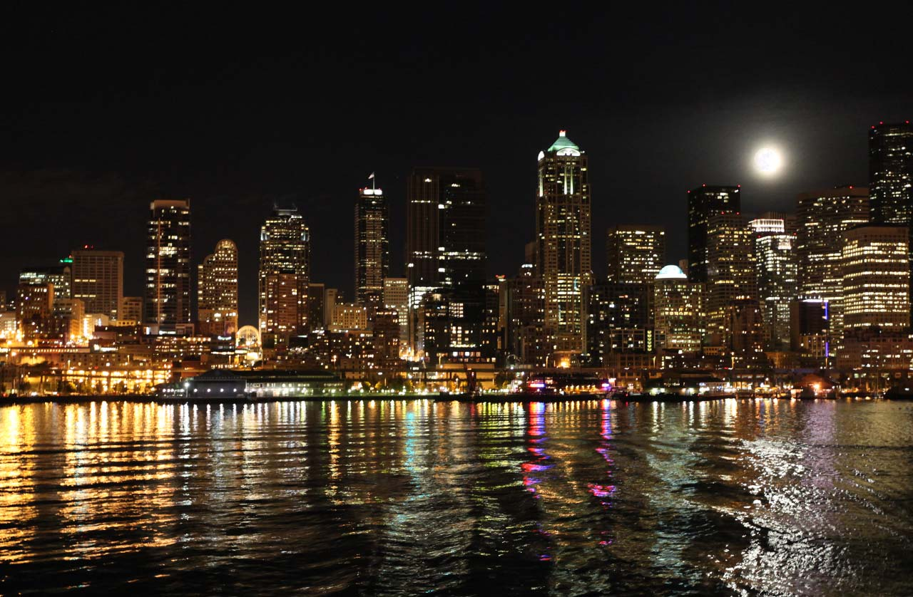 Pin Night In Seattle Hd Desktop Wallpaper Widescreen High Definition 1280x838