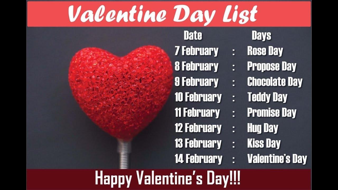 2020 Valentine Week Valentine Day week List 2020 All Days Images 1280x720