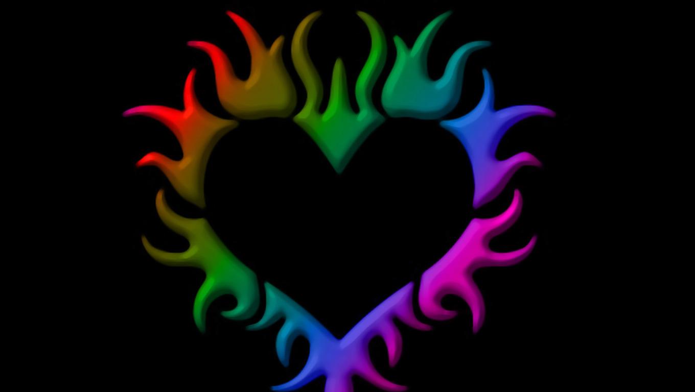 Wallpapers Rainbow Hearts Heart Screensavers 1360x768 1360x768