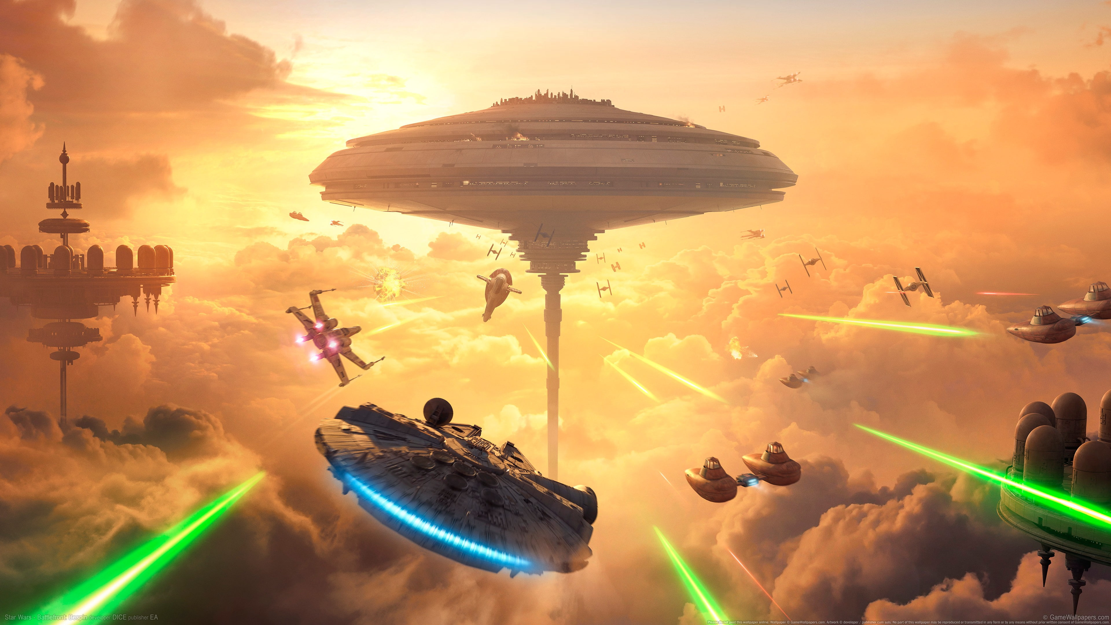 HD wallpaper Bespin cloud city Millennium Falcon Star Wars 3840x2160