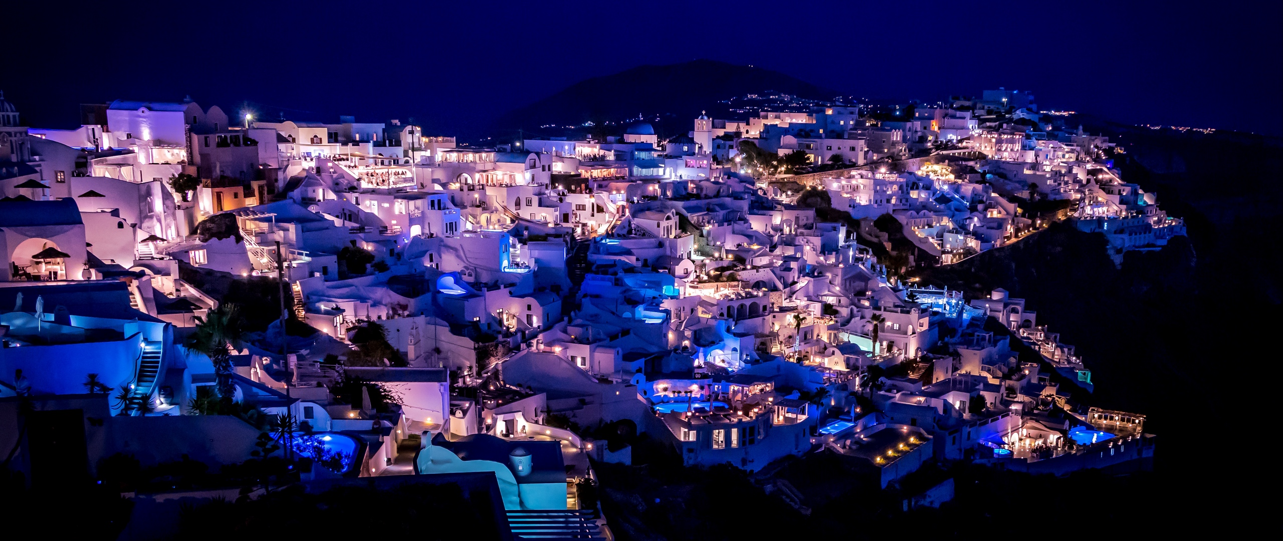 Download wallpaper 2560x1080 santorini greece night city 2560x1080