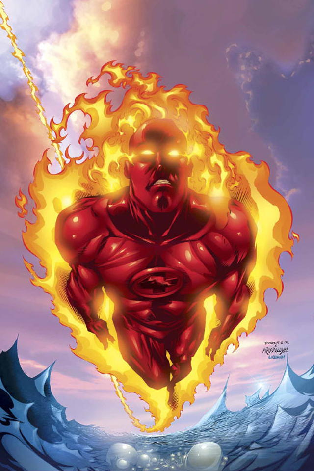 Human Torch I4 cartoons background for your iPhone download 640x960