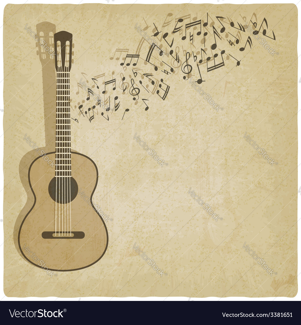 Vintage music guitar background Royalty Vector Image 1000x1080